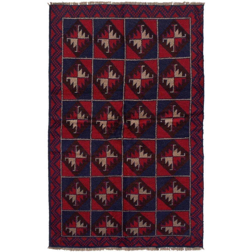 ECARPETGALLERY Hand-knotted Teimani Red Wool Rug - 3'6 x 6'3 (Red - 3'6 x 6'3)