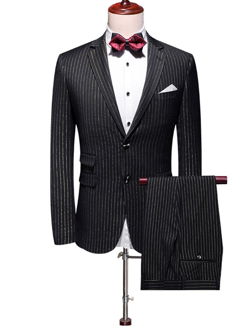 Ericdress Color Block Print Single-Breasted Men's Dress Suit