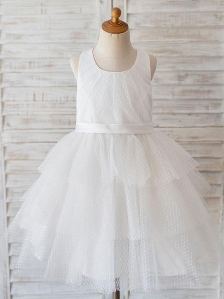Milanoo Flower Girl Dresses Jewel Neck Sleeveless Tulle Bows Kids Social Party Dresses