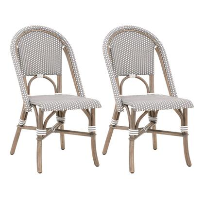 BM217368 Rattan Dining Chair with Woven Back and Seat  Set of 2  Gray and