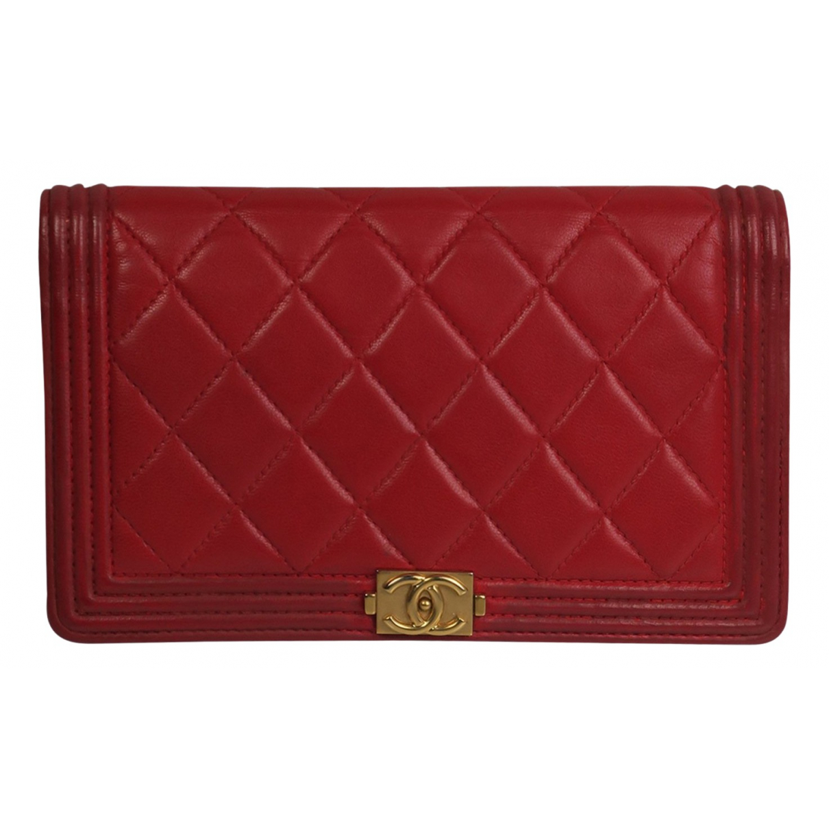 Chanel Boy Red Leather wallet for Women N