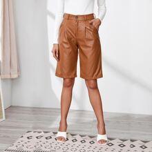 Fold Pleat Leather Look Bermuda Shorts