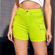 Neon Lime Pocket Patched Denim Shorts