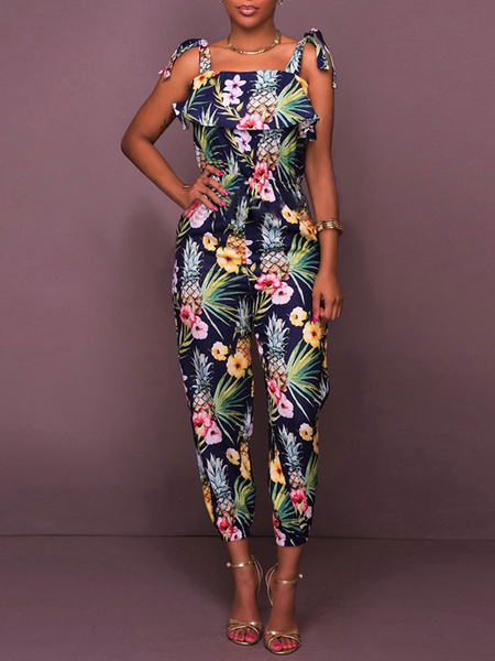 Milanoo Deep Blue Printed Stretch Polyester Summer Playsuit