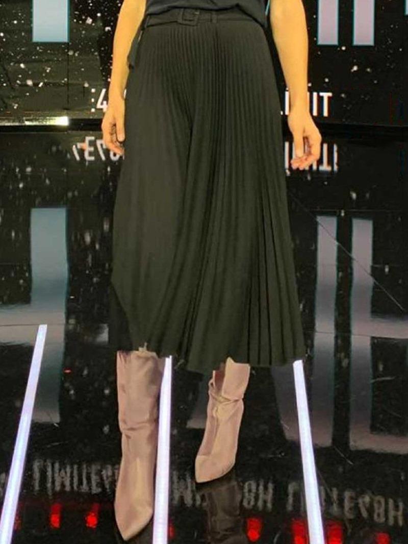 Ericdress Pleated Mid-Calf Plain Women's Casual Skirt