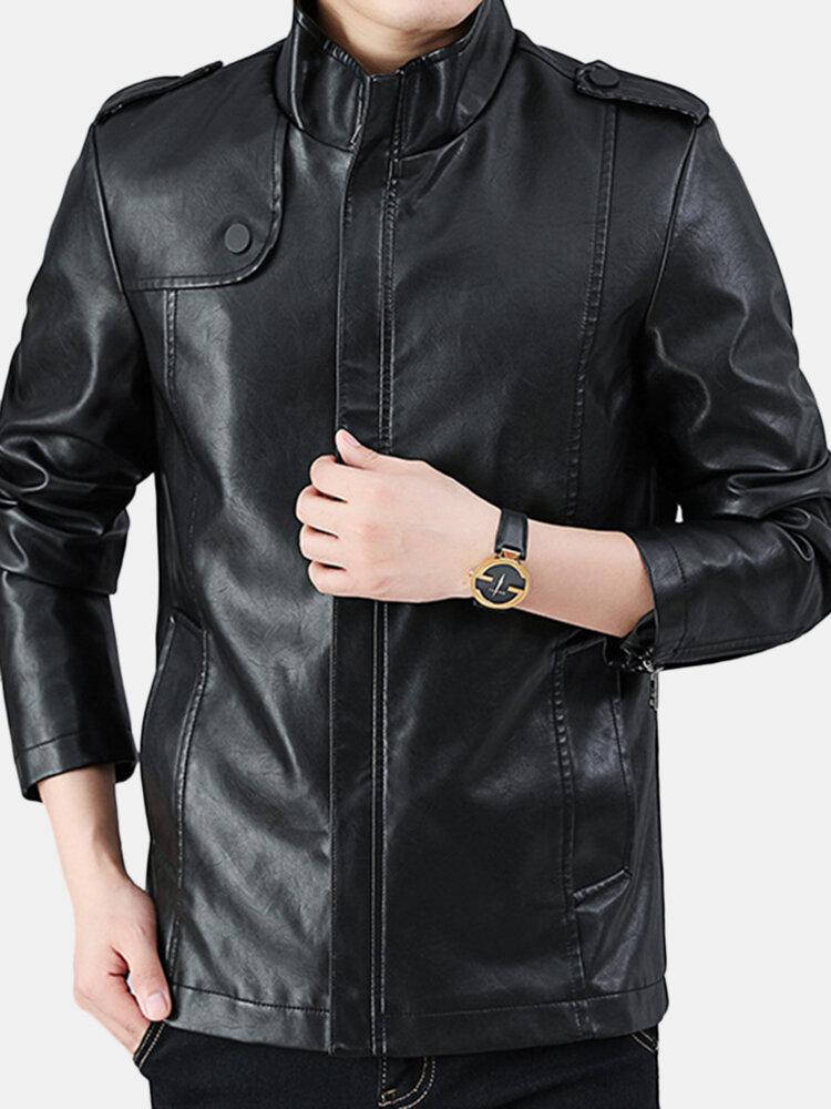 Men's Casual Leather Coat Stand Collar Slim Fit PU Jacket Zipper Coat