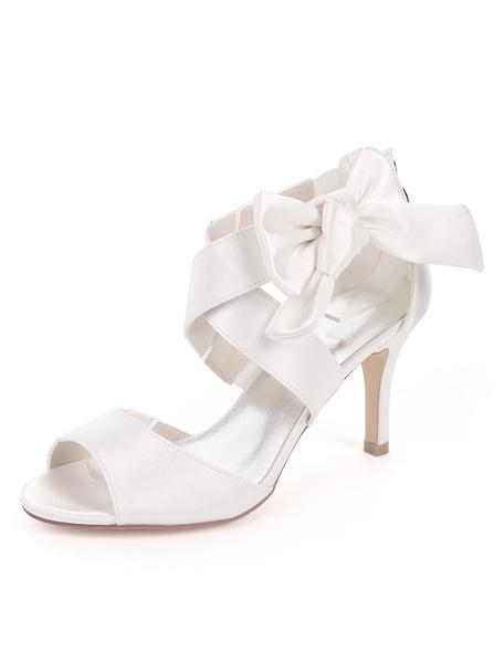 Milanoo Satin Wedding Shoes Ink Blue Open Toe Bow Bridesmaid Shoes High Heel Sandals