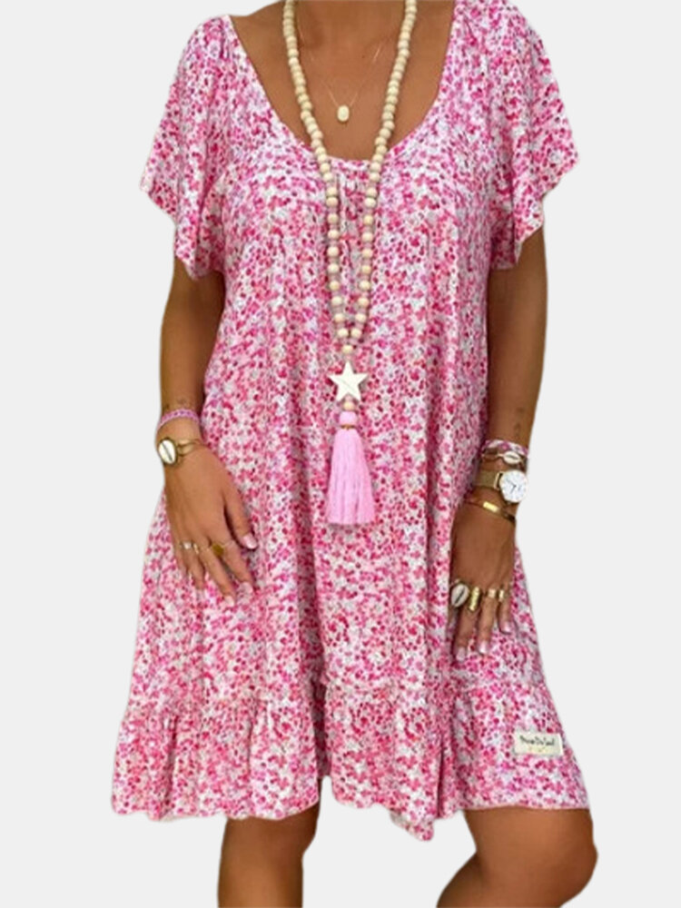Floral Printed V-neck Short Sleeve Ruffled Hem Dress