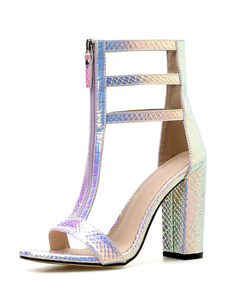 Milanoo High Heel Sandals Womens T-strap Zippered Iridescent Snakeskin Open Toe Chunky Heel Sandals