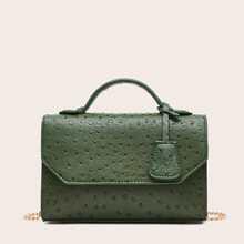 Ostrich Pattern Flap Satchel Bag