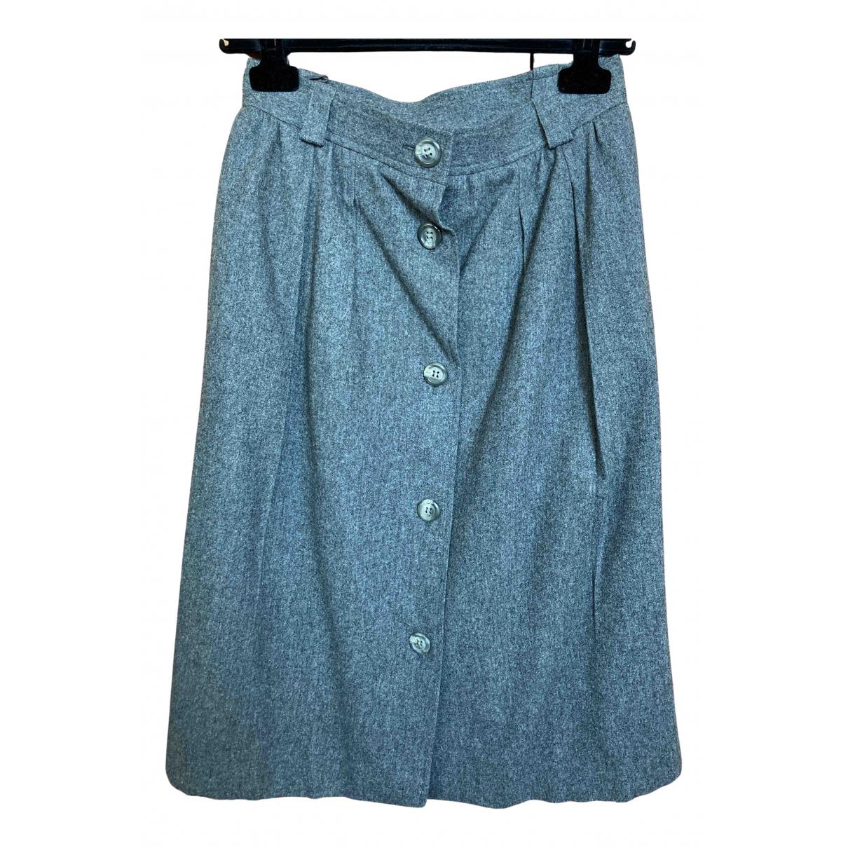 Yves Saint Laurent - Jupe   pour femme en laine - gris
