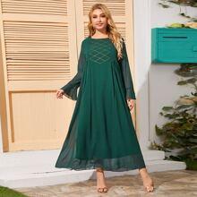 Tunika Kleid mit Kontrast, Netzstoff, Schosschenaermeln und Geometrie Muster