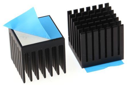 ABL Components Heatsink, 14K/W, 20 x 20 x 19.1mm, Adhesive Foil, Black