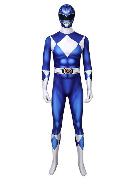 Milanoo Mighty Morphin Power Rangers Blue Ranger Zentai Jumpsuit Disfraz de Cosplay