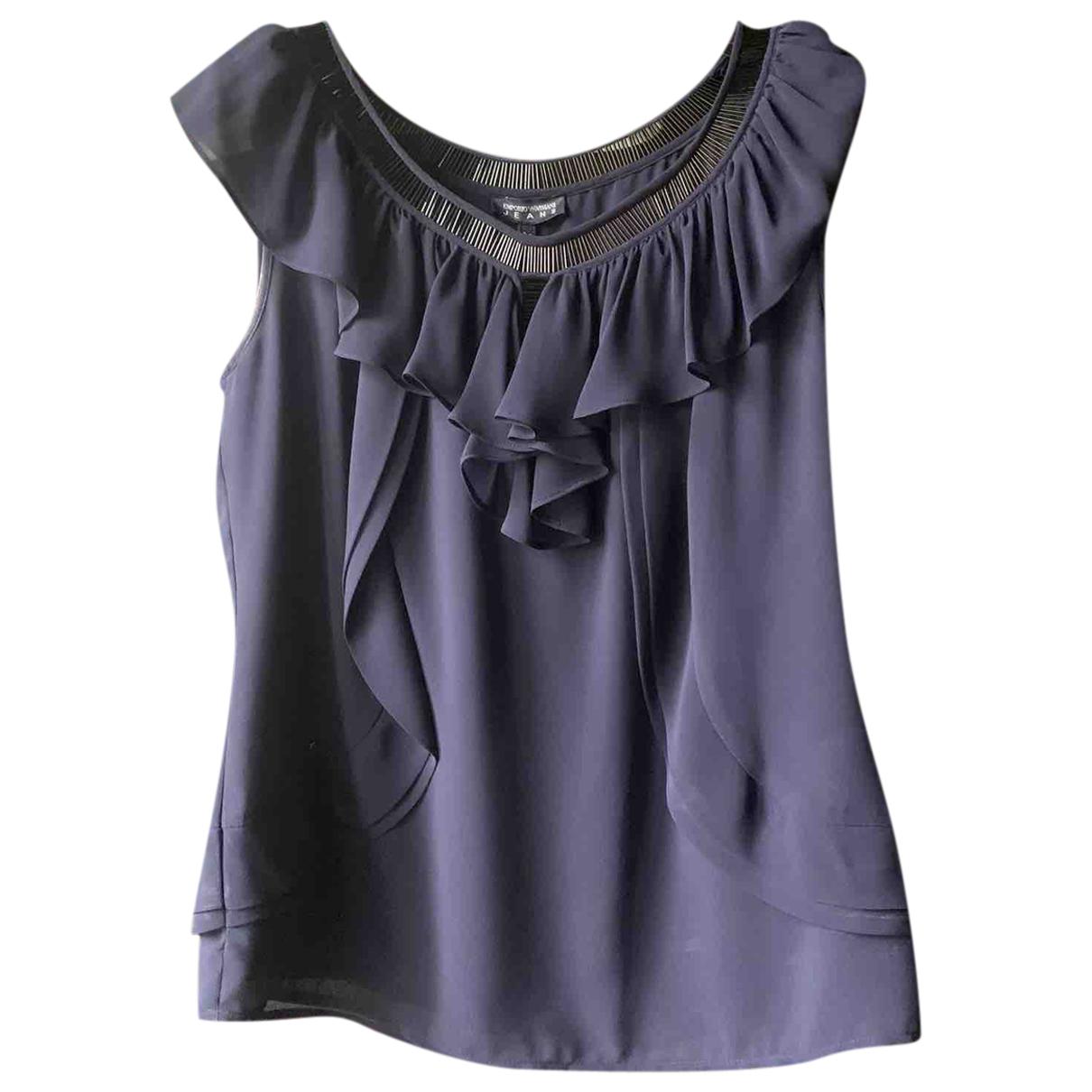 Emporio Armani N Blue Silk  top for Women 42 IT