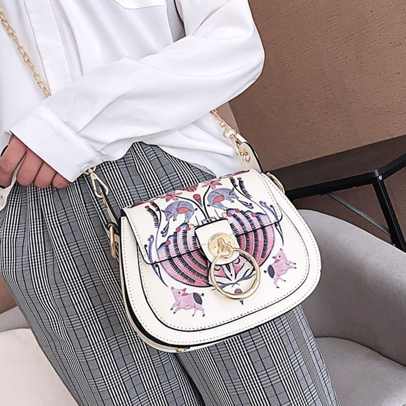 Ericdress PU Lock Cartoon Saddle Crossbody Bags