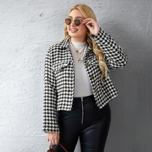 Plus Houndstooth Print Button Up Jacket