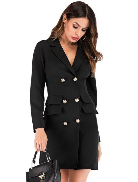 Milanoo Long Sleeve Bodycon Dress Women Blazer Dress Turndown Collar Shaping Mini Dress
