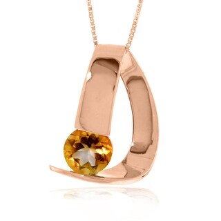 1.00 Carat 14K Solid Gold Modern Necklace with Natural Citrine (24 Inch - Rose)