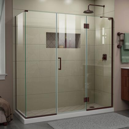 E32422534R-06 Unidoor-X 70 1/2  W x 34 3/8 D x 72 H Frameless Hinged Shower Enclosure in Oil Rubbed