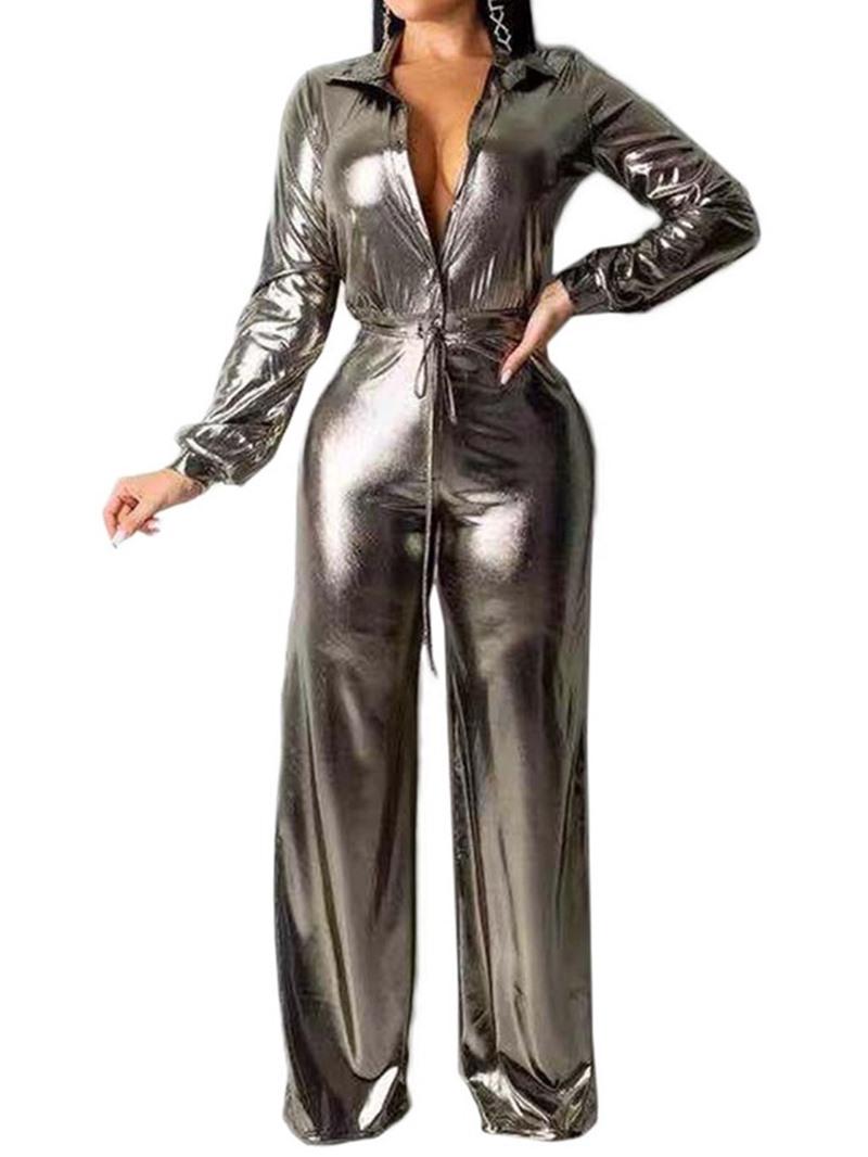 Ericdress Plain Full Length Straight Slim Jumpsuit