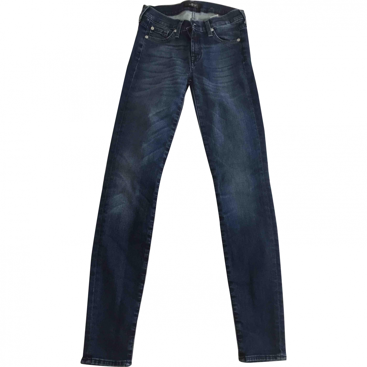 7 For All Mankind \N Blue Cotton - elasthane Jeans for Women 27 US