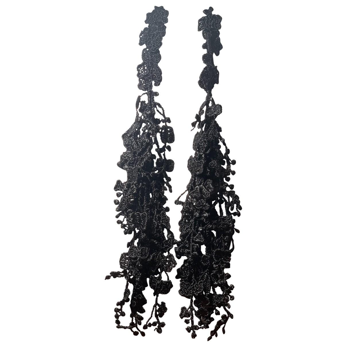 - Boucles doreilles Motifs Ethniques pour femme en toile - noir