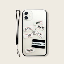 Letter Graphic iPhone Case With Lanyard