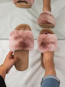 Ombre Wide Fit Fluffy Slippers