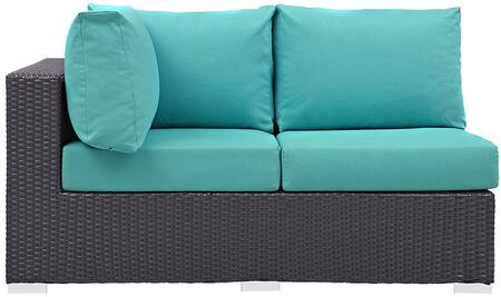 Convene Collection EEI1842EXPTRQ 56 Outdoor Patio Left Arm Facing Loveseat with Washable Fabric Cushions  Stainless Steel Legs and Powder Coated