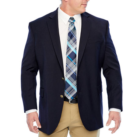 Stafford Mens Hopsack Classic Fit Blazer - Big and Tall, 54 Big Long, Blue