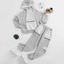 Hoodie mit sehr tief angesetzter Schulterpartie und Farbblock & Jogginghose Set