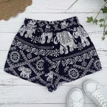 Tribal Print Tassel Tie Front Shorts