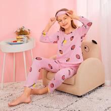 Girls Strawberry Print Pajama Set With Eye Cover