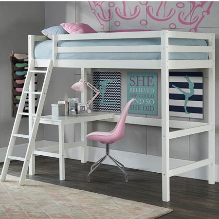 Caspain Loft Bed in a Box, One Size , White