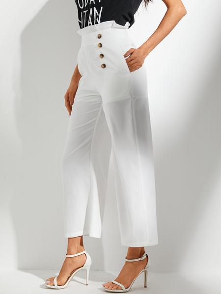 YOINS White Side Pockets High-Waisted Pants