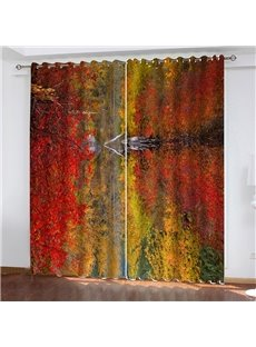 Autumn Oil Painting 3D HD Digital Print Blackout and Heat-proof Curtain 200g/m² Shading Polyester HD Graphic Designs Printed with Advanced Color-Fast