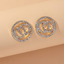 Rhinestone Round Stud Earrings