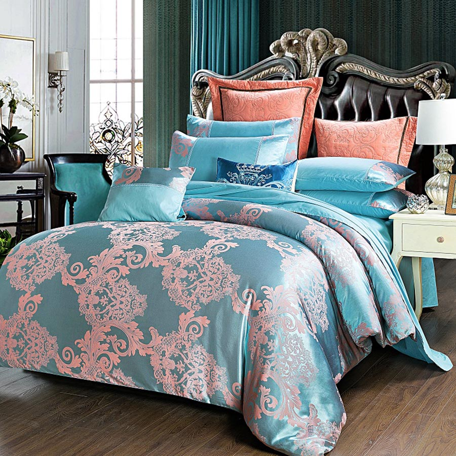 Exquisite Flower Jacquard Style Turquoise 4-Piece Bedding Sets/Duvet Cover