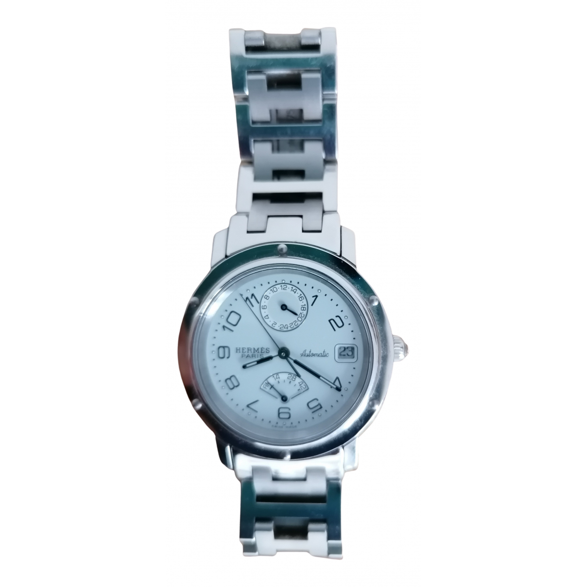 Hermes Clipper Chronographe Uhr in Stahl