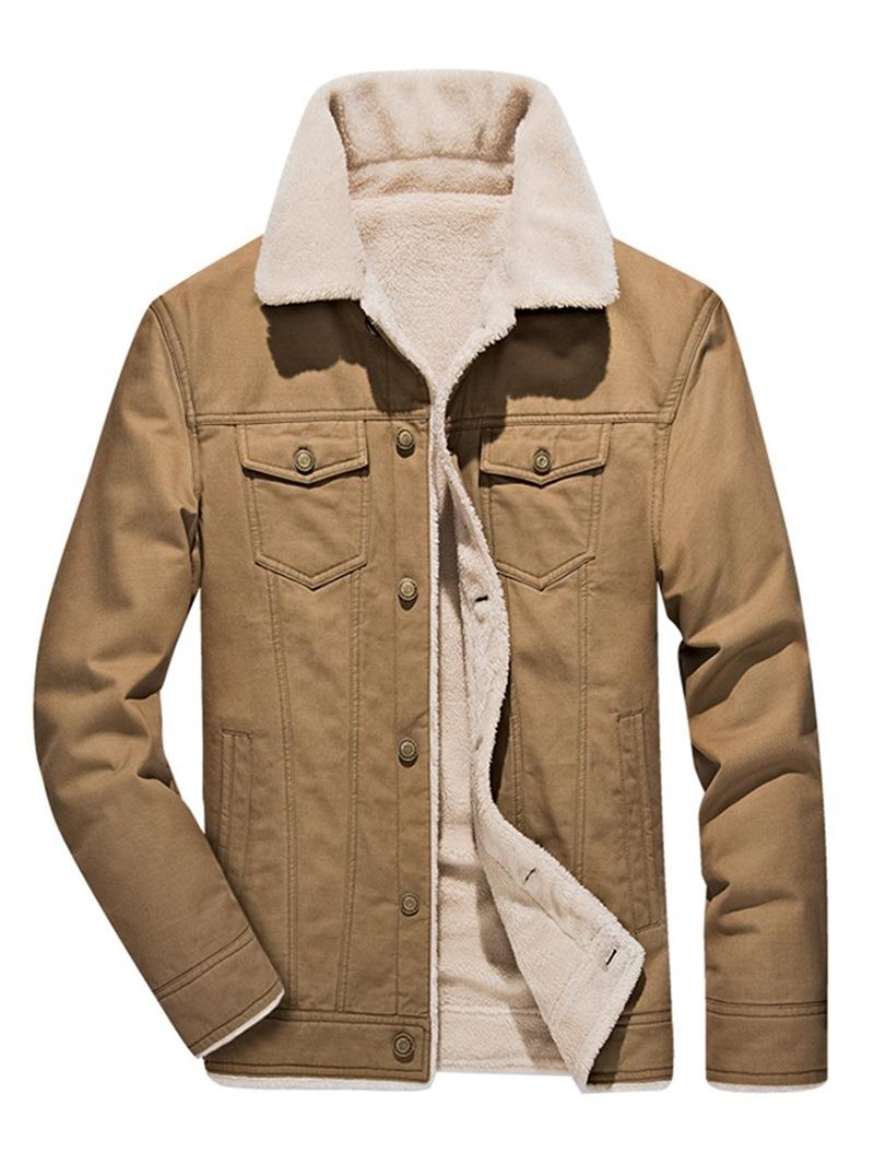 Ericdress Plain Slim Zipper Cashmere Lining Mens Casual Jacket