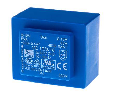 Block 18V ac 2 Output Through Hole PCB Transformer, 16VA