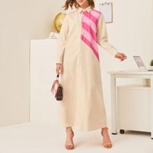 Diagonal Striped Colorblock Shirt Dress