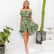 Off Shoulder High Low Belted Floral Dress