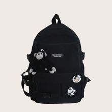 Maenner Rucksack mit Taschen vorn und Taschendekor
