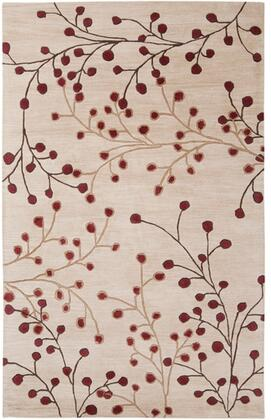 Athena Collection ATH5053-58 Rectangle 5' x 8' Area Rug  Hand Tufted with Wool Material in Red and Brown