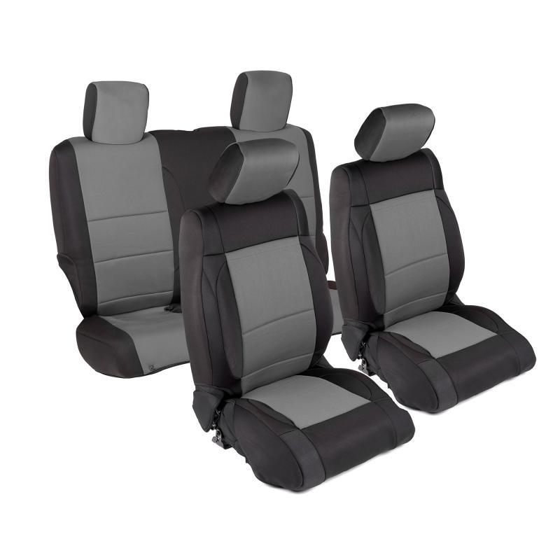 Neoprene Seat Cover 07-12 Wrangler JK 2 DR Set Front/Rear Charcoal Smittybilt