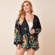 Plus High Low Hem Floral Print Kimono