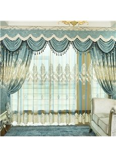 Classy European Mysterious Noble Gradual Lake Blue Embroidered Sheer Curtains