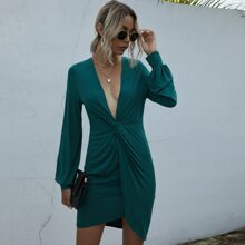 Plunging Neck Twist Front Fitted Dress